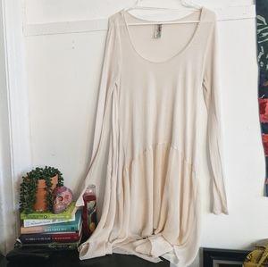 Free People Cream Oversized Linen Tunic Top S